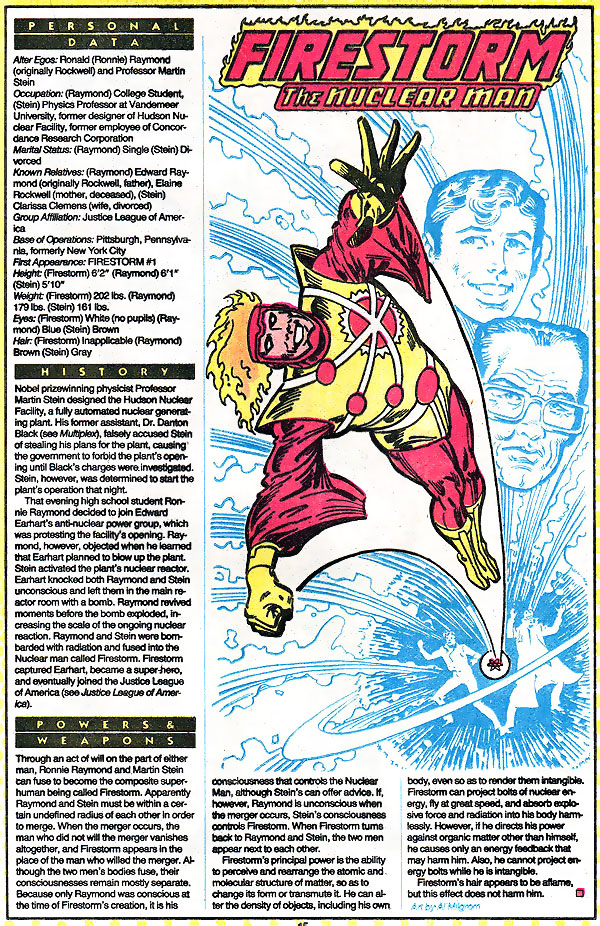 Firestorm the Nuclear Man by Al Milgrom from Who's Who
