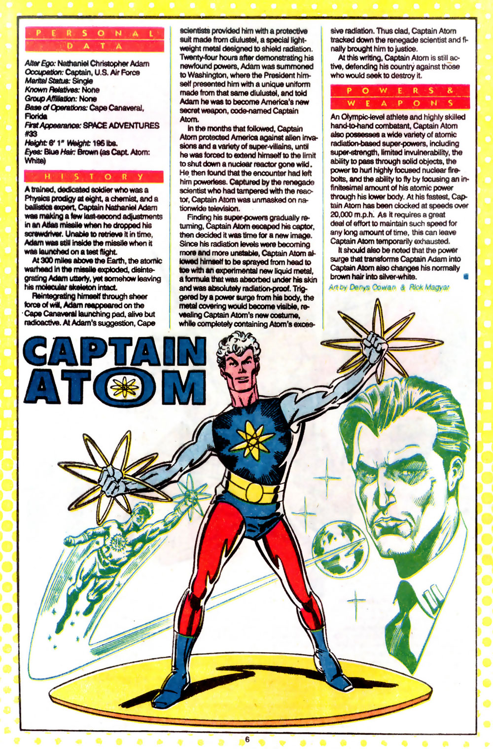 Captain Atom Who's Who entry by Denys Cowan and Rick Magyar