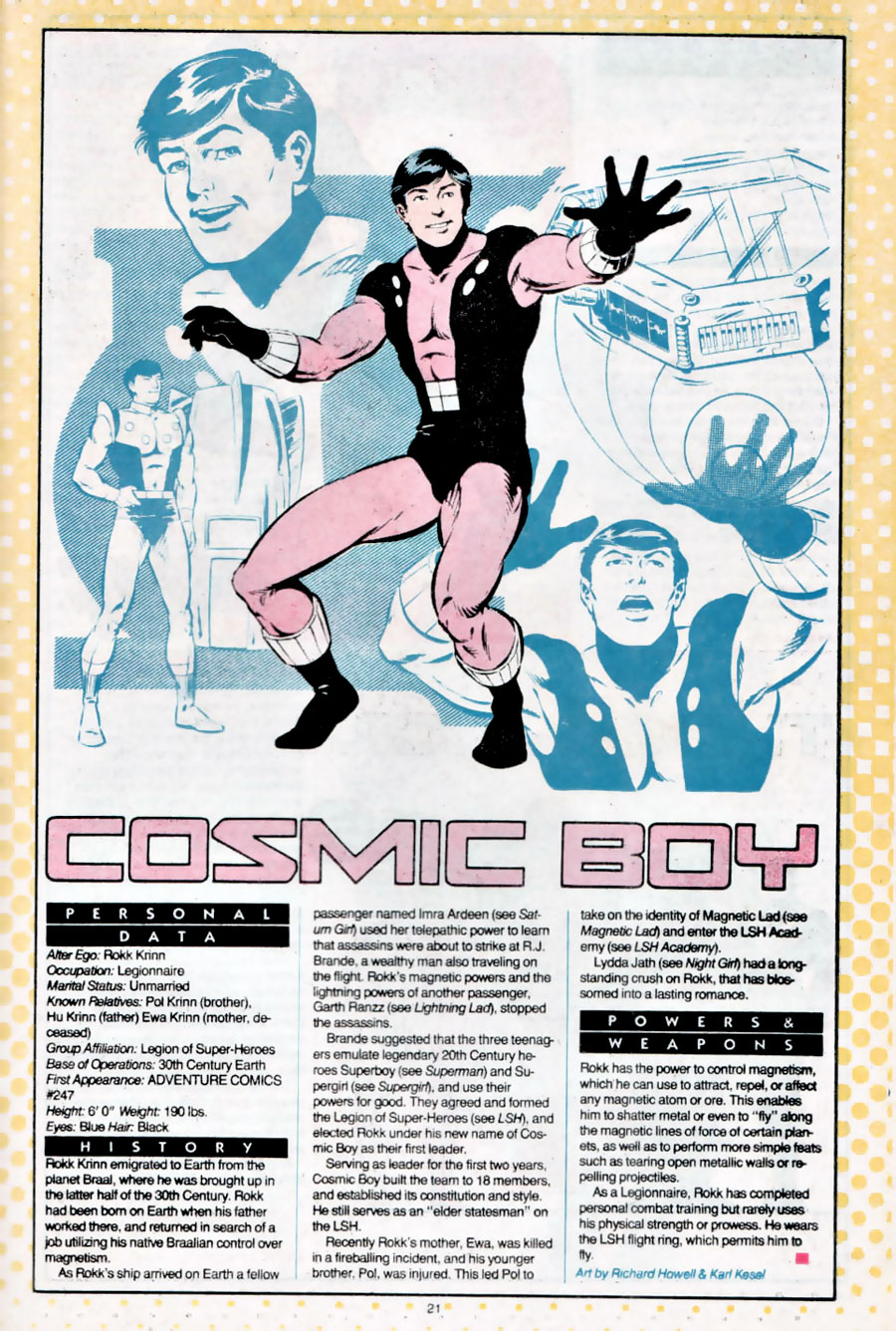 Cosmic Boy of the Legion of Super-heroes by Richard Howell and Karl Kesel from Who's Who