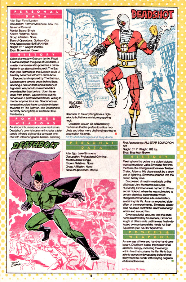 Deadshot by Marshall Rogers and Terry Austin, plus Deathbolt by Jerry Ordway from Who's Who