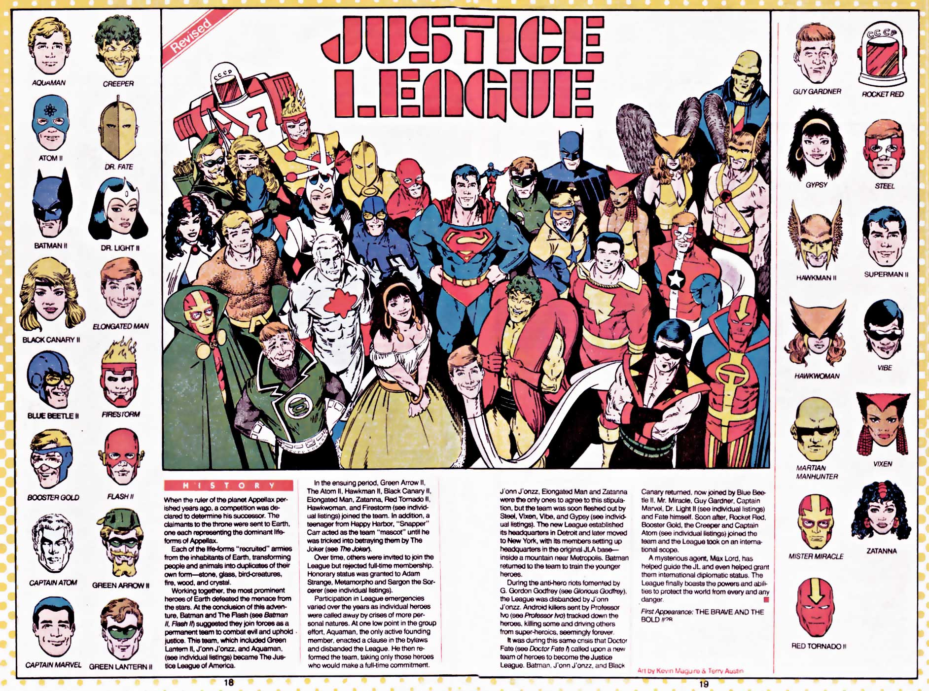 Justice League from Who's Who by Kevin Maguire and Terry Austin