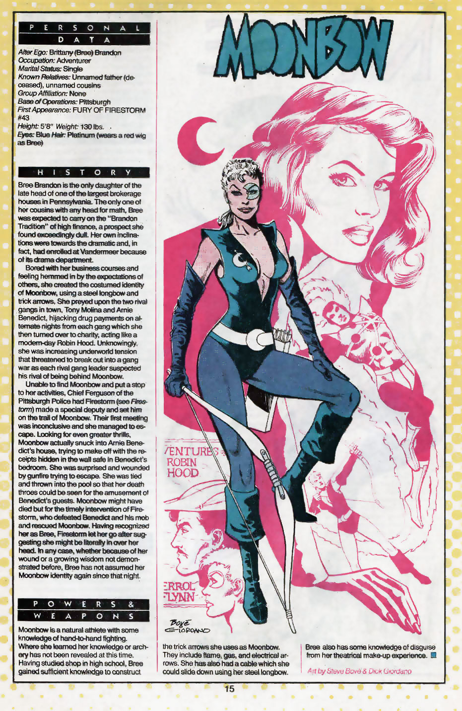 Moonbow Who's Who entry by Steve Bove and Dick Giordano