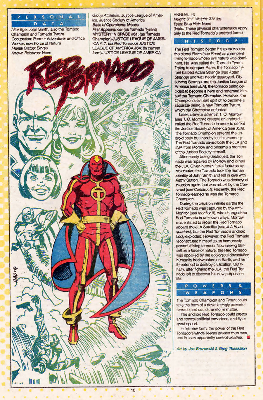 Who's Who Red Tornado by Joe Brozowski & Greg Theakston