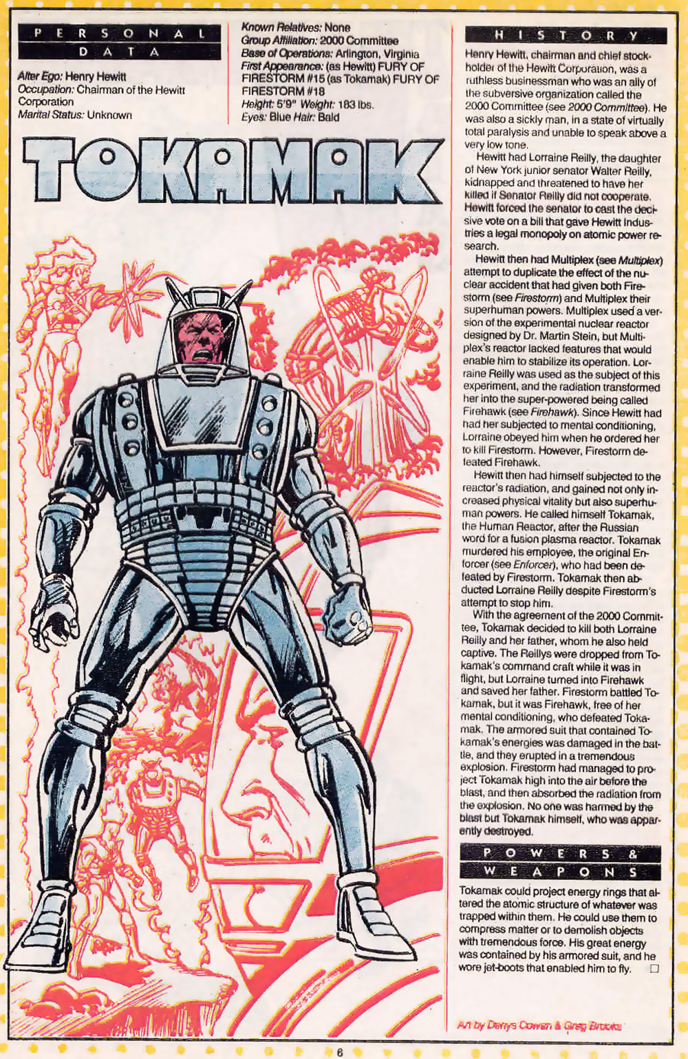 Tokamak drawn by Denys Cowan and Greg Brooks