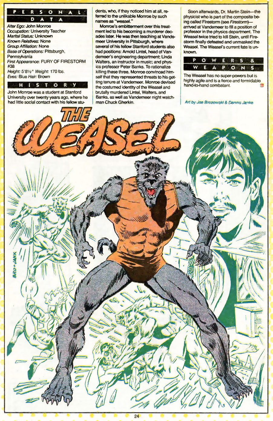 Who's Who entry for The Weasel by Joe Brozowski and Dennis Janke
