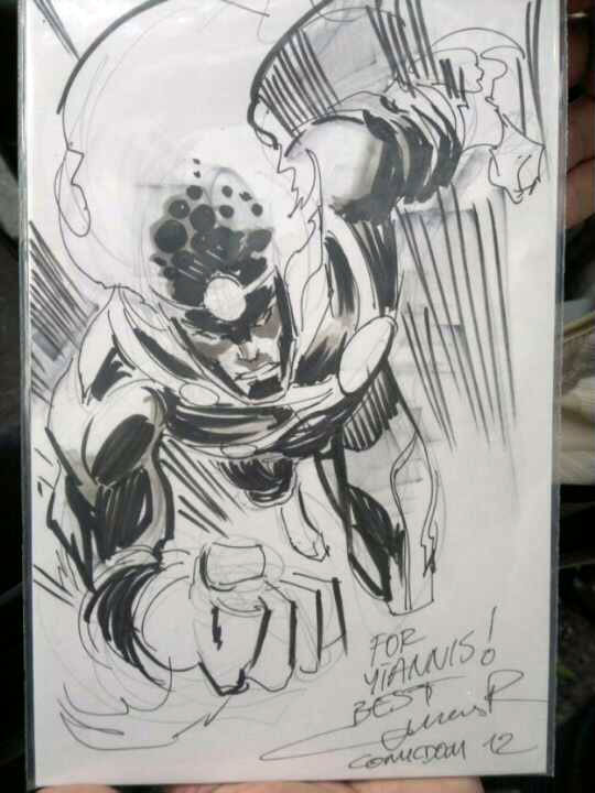 Yildiray Cinar draws Firestorm at Comicdom Con 2012 in Athens