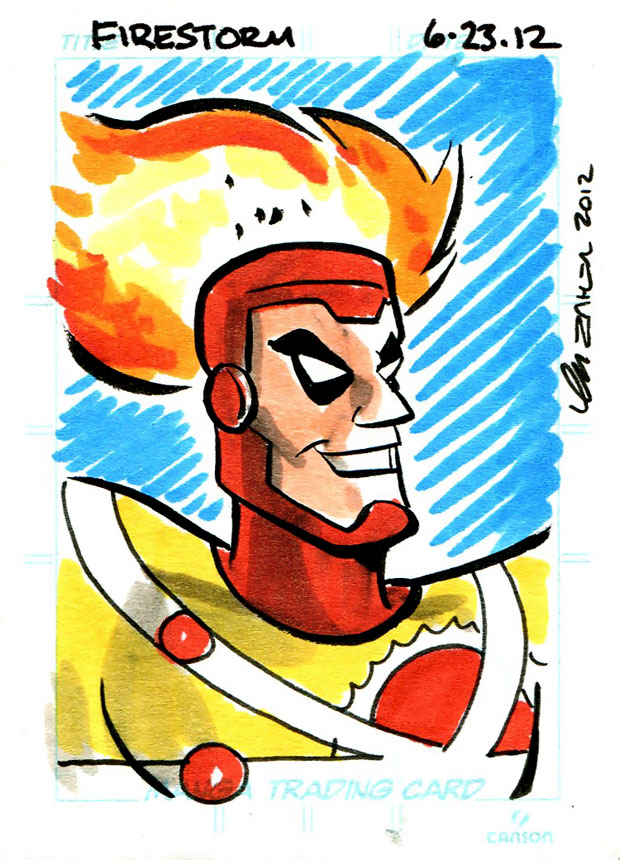 Firestorm sketch card by Thom Zahler