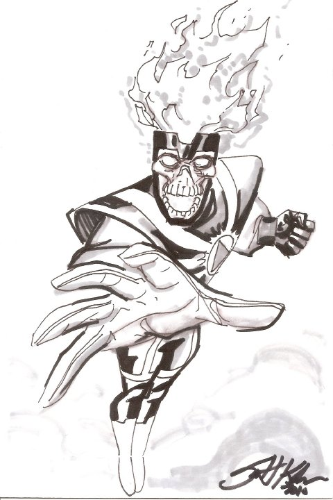 Black Lantern Firestorm sketch by Scott Kolins